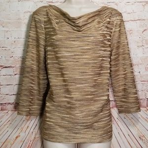 Jones New York | Striped Gold Cowl Top NWOT